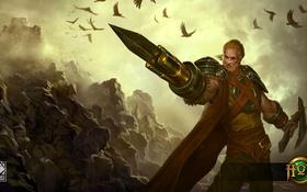 Картинка лезвие, воин, мужчина, пушка, Heroes of Newerth, Týr, Gunblade
