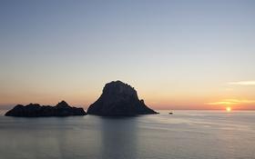 Обои море, небо, закат, остров, горизонт