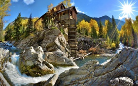 Обои wooden, stones, cabin, stair