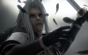 Обои меч, перья, серые волосы, Sephiroth, Final Fantasy VII