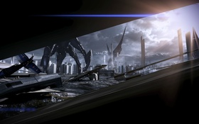 Обои art, mass effect 3, Earth, fan, Reaper