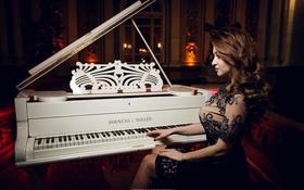 Картинка Девушка, girl, пианино, woman