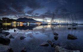 Обои яхты, озеро, ночь