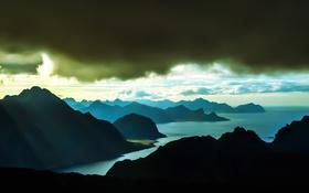 Обои горы, силуэт, фьорд, тучи, море