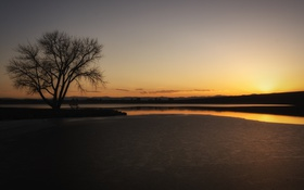 Картинка пейзаж, ночь, река