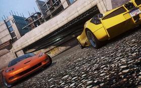 Обои город, парковка, ракурс, суперкары, need for speed most wanted 2, pagani huayra, chevrolet corvette z06