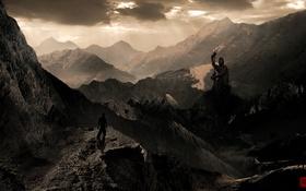 Картинка горы, город, человек, арт, принц, статуя, Prince of Persia