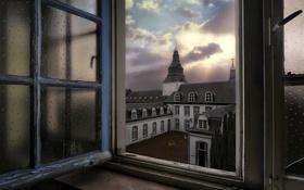 Картинка небо, город, окно