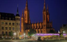 Картинка ночь, огни, дома, Германия, площадь, фонари, башни