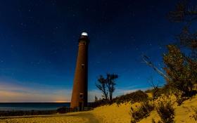 Обои звезды, ночь, берег, маяк, Мичиган, США, Oceana