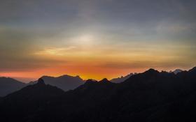 Картинка небо, закат, горы, силуэт
