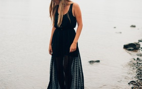 Картинка вода, девушка, берег, шляпа, платье