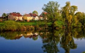 Обои Ulm, Германия, дома, фото, река, город, деревья