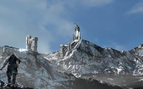 Обои горы, скалы, доспехи, рыцарь, север, Skyrim