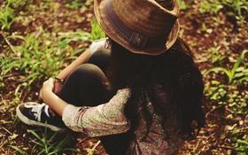 Обои лето, девушка, шляпа, шляпка, локоны