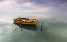 Обои природа, лодка, озеро