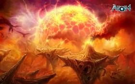 Обои скалы, крылья, вулканы, монстры, лава, Aion