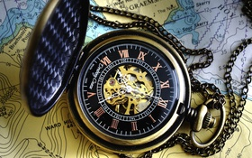 Обои стиль, часы, механизм, карта, циферблат, цепочка