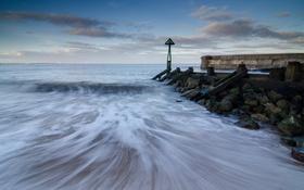 Обои England, Seaton Sluice, пейзаж, море