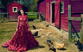 Картинка платье, брюнетка, Кэти Перри, Katy Perry, певица, фотосессия, Vogue