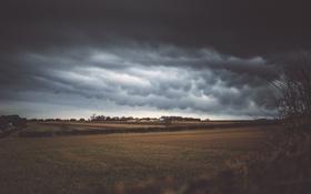 Обои поля, гроза, дом, сельская местность, сарай, фермы, облака