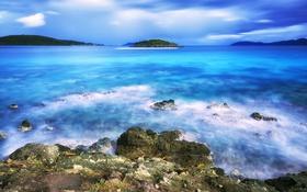 Обои пляж, вода, капли, деревья, камни, остров