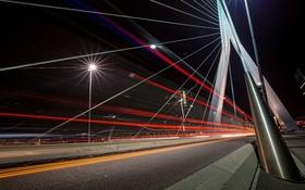 Обои Rotterdam, Nederland, Light Trails