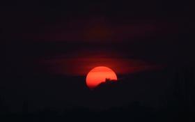 Картинка солнце, облака, закат, вечер