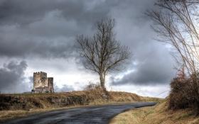 Картинка дорога, небо, замок