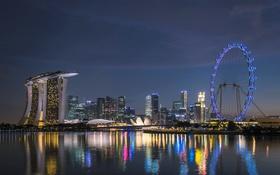 Картинка ночь, огни, Сингапур, Marina Bay, колесо обзора