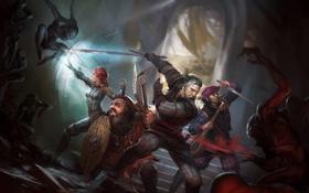 Обои Волшебница, Ведьмак, The Witcher, Геральт, Трисс Меригольд, Гном, Fantasy Flight Games