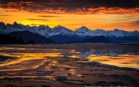 Обои закат, лёд, горы, зима, вода