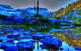 Обои пейзаж, природа, камни, фото, HDR, Вашингтон, США