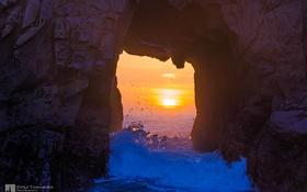 Обои закат, Kenji Yamamura, photographer, прилив, скала