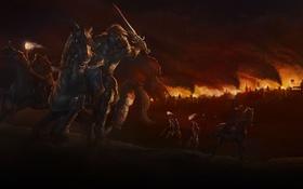 Обои город, оружие, пожар, пламя, факел, всадники, III