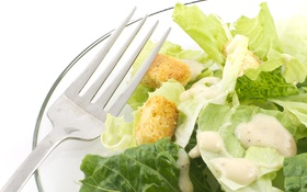 Обои еда, вилка, овощи, салат, цезарь