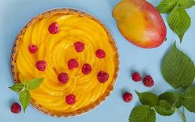 Обои малина, манго, листики, leaves, raspberry, mango, манговый пирог