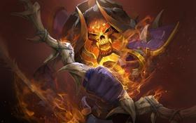 Обои demon, flame, clinkz, archer, dota 2, biggreenpepper, bone fletcher