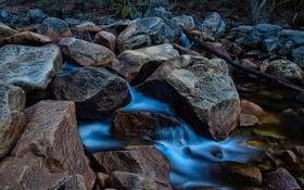Обои поток, камни, ручей