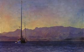 Обои море, небо, горы, яхта, холст