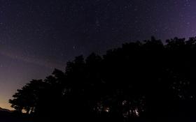 Обои ночь, звезды, пространство, космос, силуэт