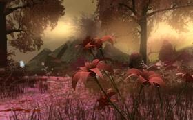 Обои коллаж, камни, природа, цветы, пейзаж, деревья