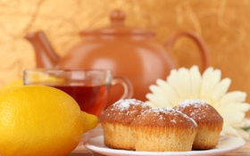 Обои кексы, чайник, чай, лимон, цветок