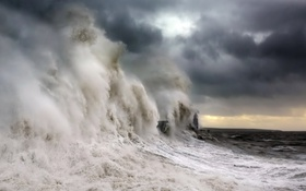 Картинка Storm, Sea, Wave, Porthcawl Lighthouse
