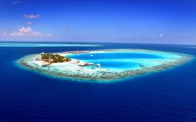 Обои океан, остров, атолл, курорт, Maldives, aerial
