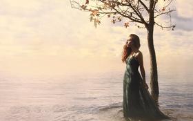 Картинка природа, девушка, дерево