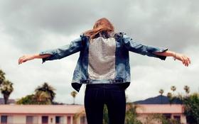 Картинка девушка, спина, джинсы