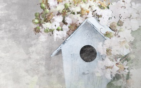 Обои House Flowers, Цветы, Домик