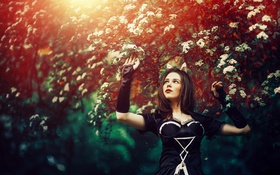 Картинка Girl, Model, Flowers, Sun, Dream, Trees, Reflection