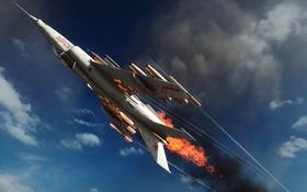 Обои небо, самолет, огонь, пламя, Battlefield 4